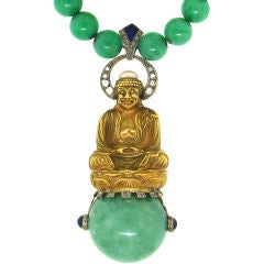 Fabulous Art Deco Jade, Diamond, Lapis & Gold Buddha Necklace