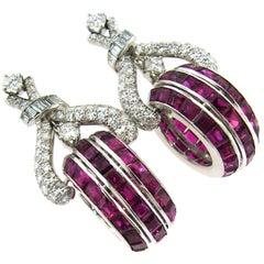 Vintage French cut Ruby Diamond Platinum Earrings