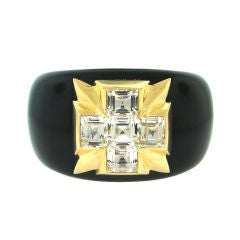 White Topaz, Yellow Gold & Black Jade Cuff Bracelet by Verdura