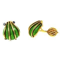 Tiffany & Co./ Schlumberger Enamel, Sapphire & Gold Cufflinks