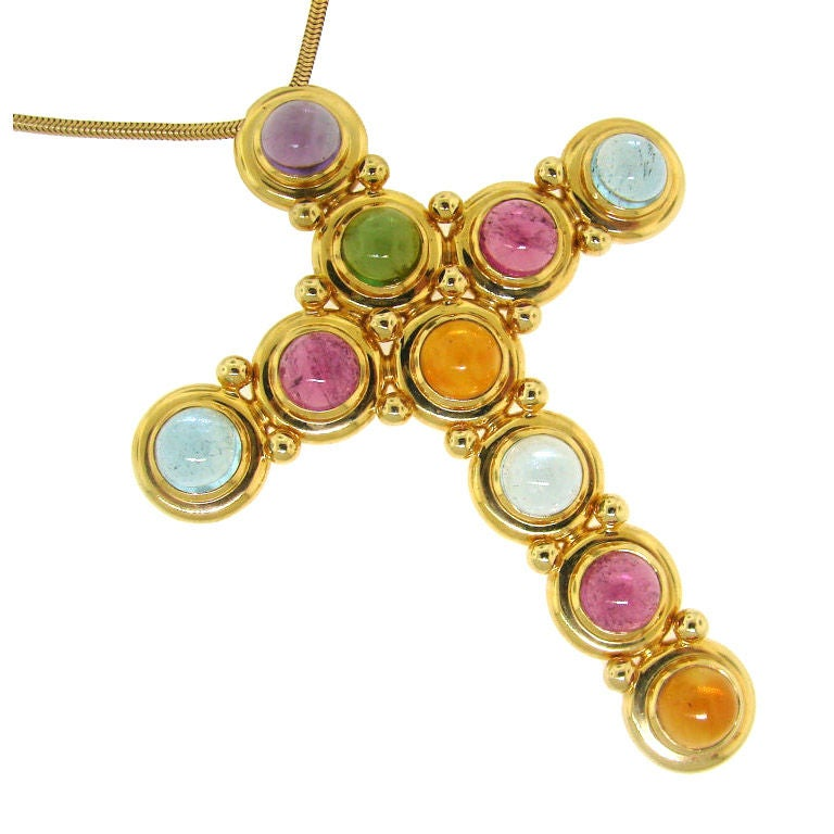 e413ab115 Bold Tiffany and Co. by Paloma Picasso Gems and Gold Cross Necklace ...