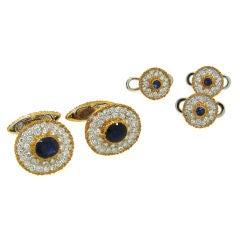 Classy Buccellati Diamond, Sapphire & Gold Cufflink & Stud Set