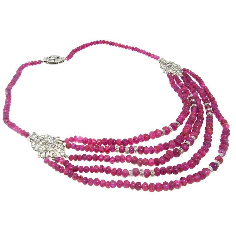 Cartier London Art Deco Diamond, Ruby Beads & Platinum Necklace For Sale