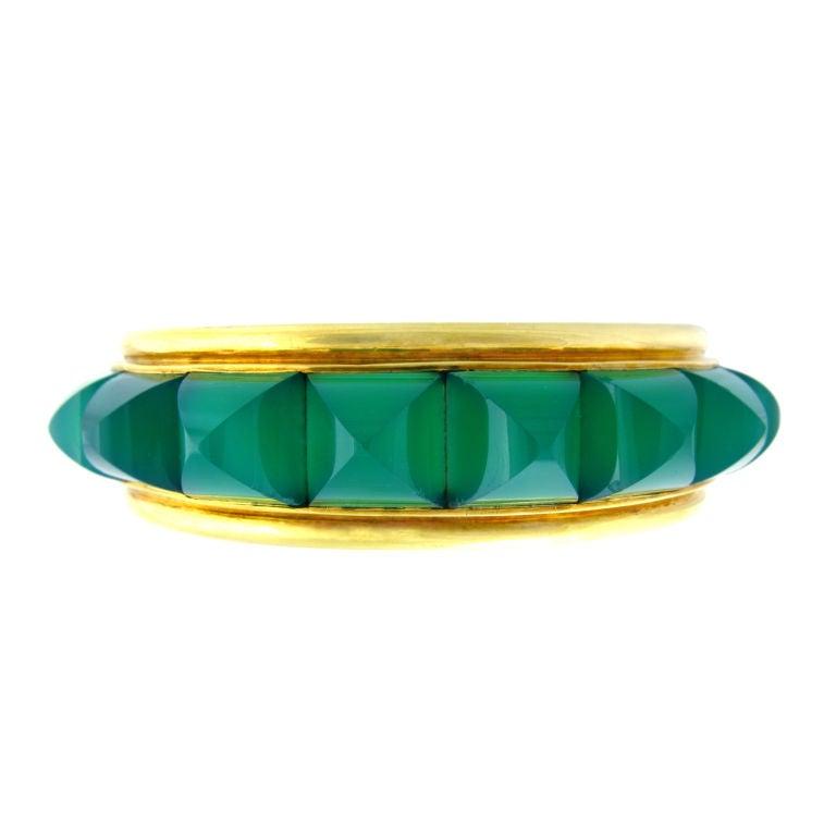 Chrysophrase and Gold Bracelet For Sale