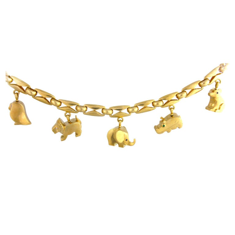 Retro French Gold Charm Bracelet At 1stdibs