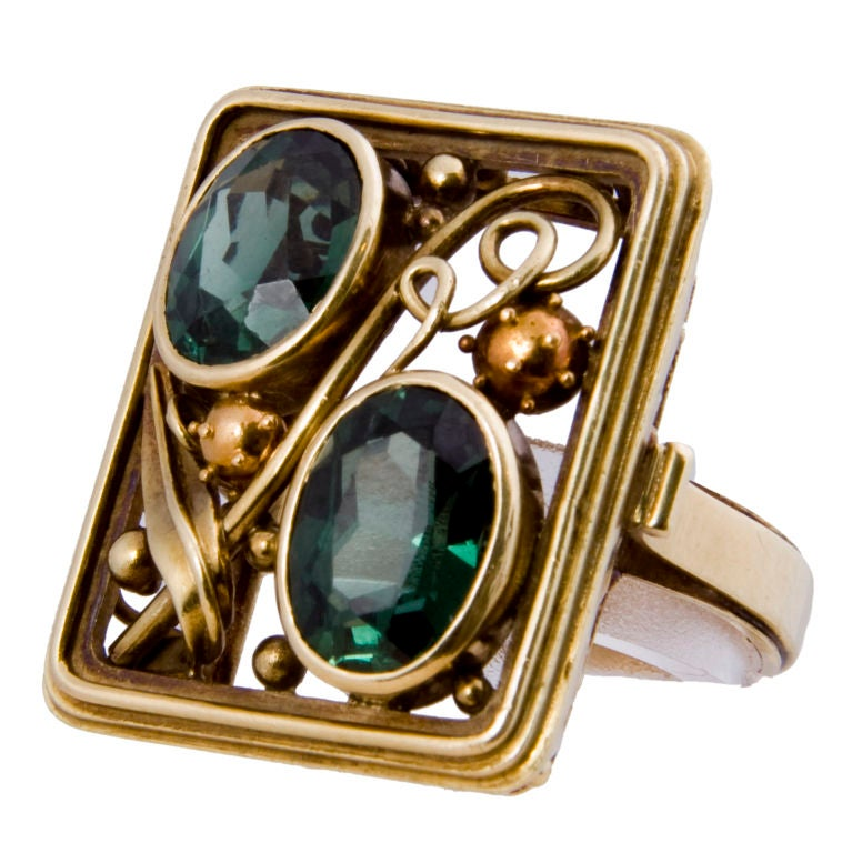 Arts and crafts tourmaline ring at 1stdibs for Art craft engagement rings
