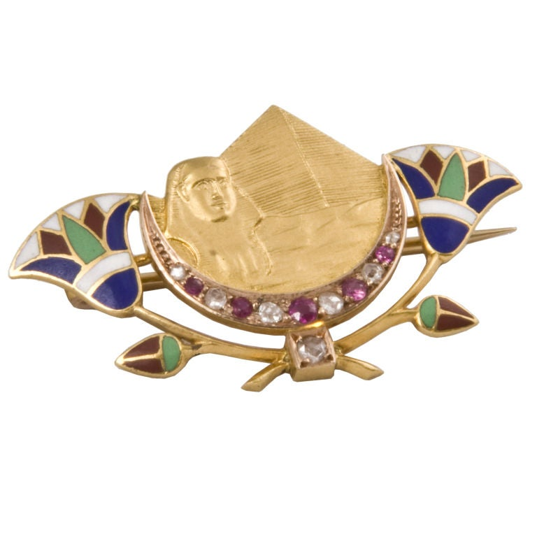 Pristine  Enamel Egyptian Revival Pin
