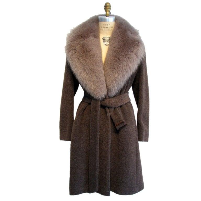 1990s Isaac Mizrahi Fox Fur Trimmed Belted Wrap Coat At 1stdibs