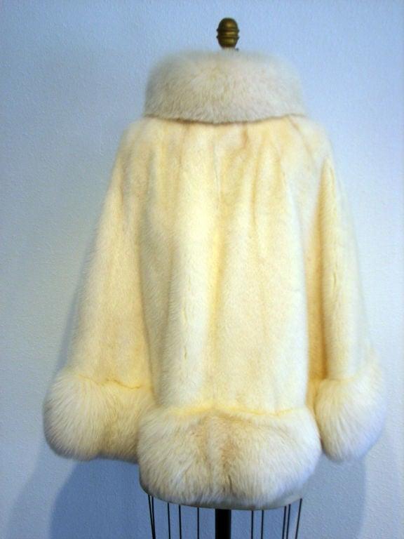 1950s Galanos Arctic Fox And Ivory Mink Fur Swing Coat