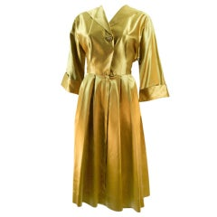 VTG 1950 LIQUID GOLD  EVENING DRESS