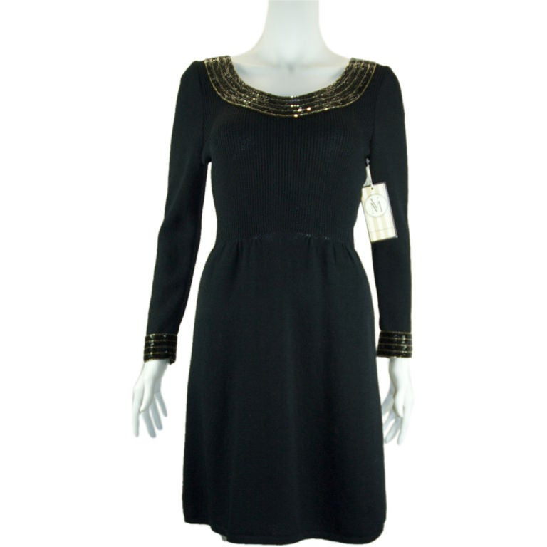 St john knit with pale gold and black bugle beads dress at for Costume jewelry for evening gowns