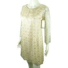 VINTAGE 1960 MOD METALLIC SILVER  LACE  SHEATH MINI  PARTY DRESS