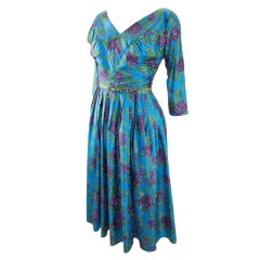 VINTAGE 1950s BLUE FLORAL SILK DRESS  w 3/4 SLEEVES