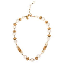 Miriam Haskell Rhinestone and Pearl Necklace