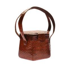 1940's Brown Python Architectual  Handbag