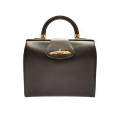 1960's  Brown Leather Power Handbag