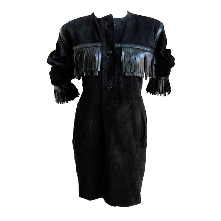 YVES SAINT LAURENT black suede fringed minidress - 1987 For Sale