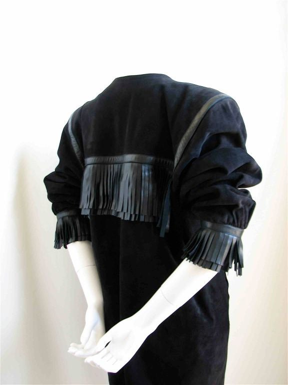 Black YVES SAINT LAURENT black suede fringed minidress - 1987 For Sale