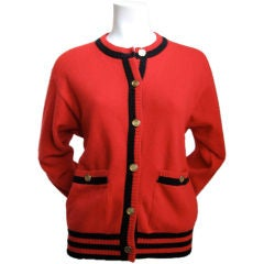 CHANEL red & black cashmere cardigan