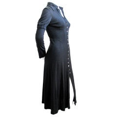 OSSIE CLARK Quorum black wool seamed dress
