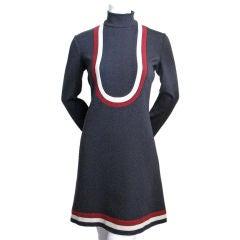 PIERRE CARDIN charcoal wool A-line dress