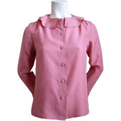 CHANEL rose silk blouse with ruffled neckline - SALE!