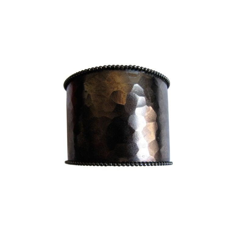 YVES SAINT LAURENT oxidized hammered cuff 1