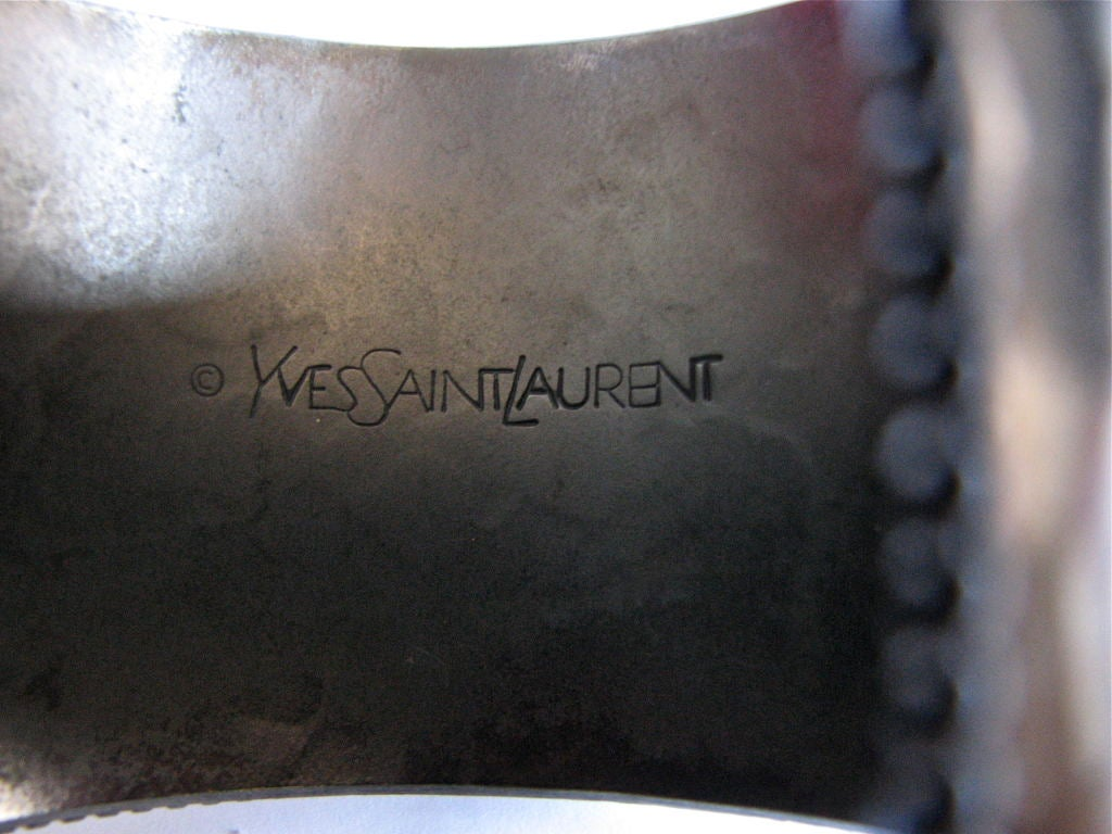 YVES SAINT LAURENT oxidized hammered cuff 2