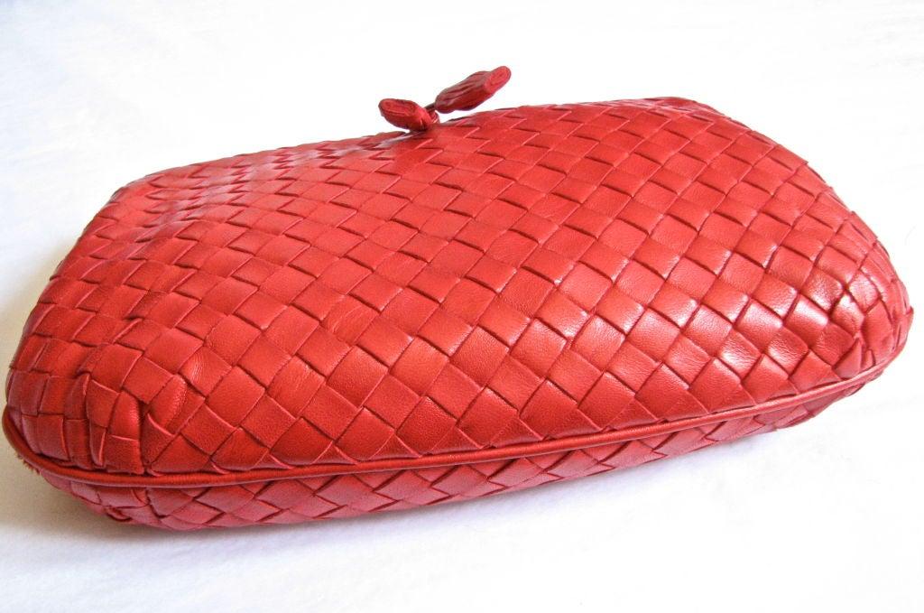 BOTTEGA VENETA red woven leather clutch with tassels 2