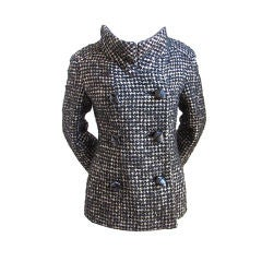 JAMES GALANOS houndstooth wool jacket with leather knot buttons