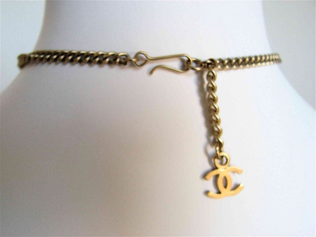 CHANEL gold 'razor blade' necklace with CC charm 4