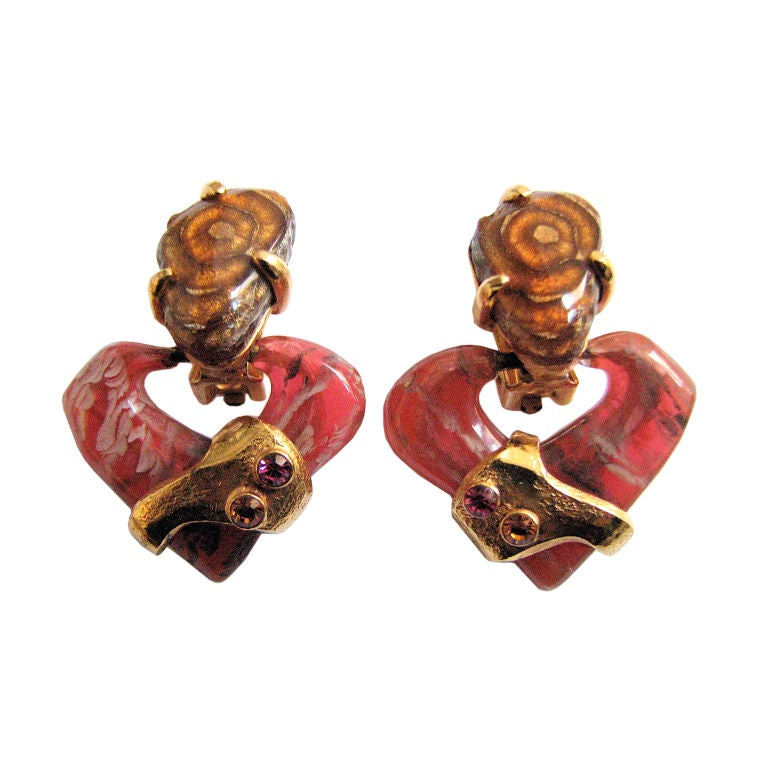 CHRISTIAN LACROIX marbled stone heart earrings