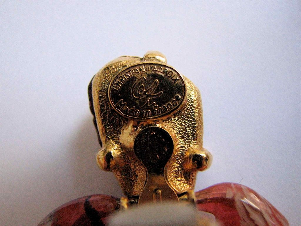 CHRISTIAN LACROIX marbled stone heart earrings 1