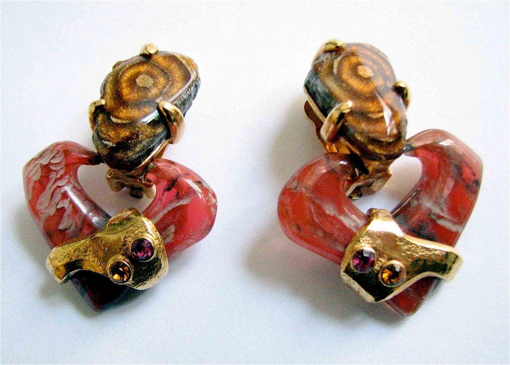 Women's CHRISTIAN LACROIX marbled stone heart earrings