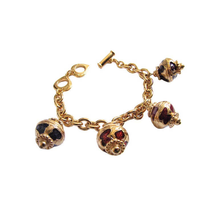 Yves saint laurent gilt and enamel oriental bracelet at 1stdibs - Bracelet yves saint laurent ...
