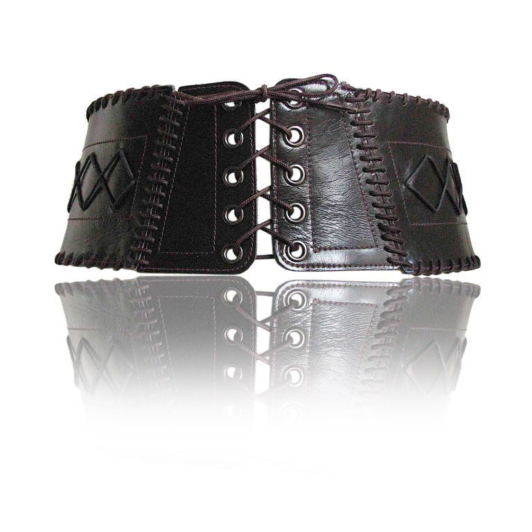 yves laurent wide leather corset belt at 1stdibs