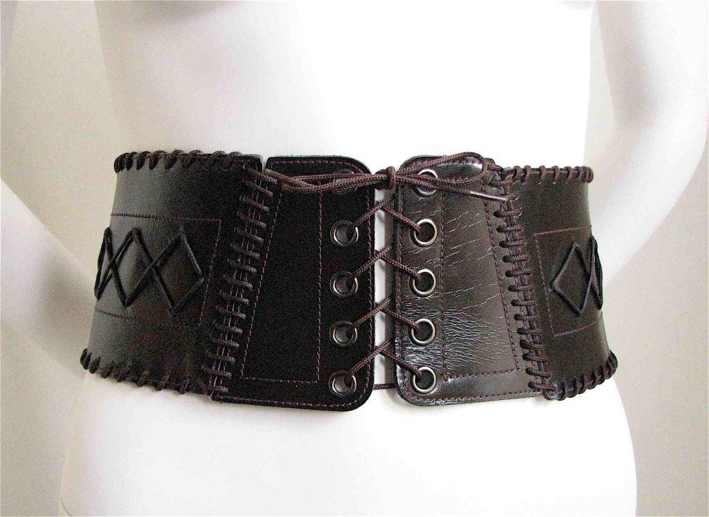 Yves Saint Laurent Wide Leather Corset Belt At 1stdibs