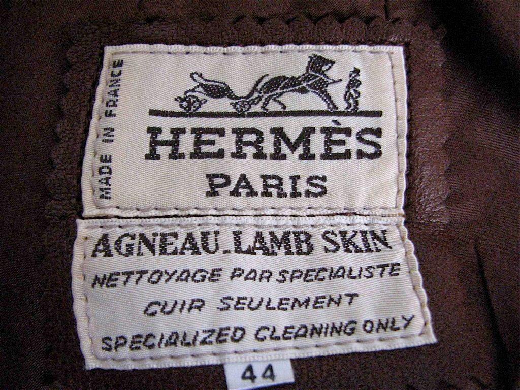 HERMES brown agneau lamb skin skirt 3
