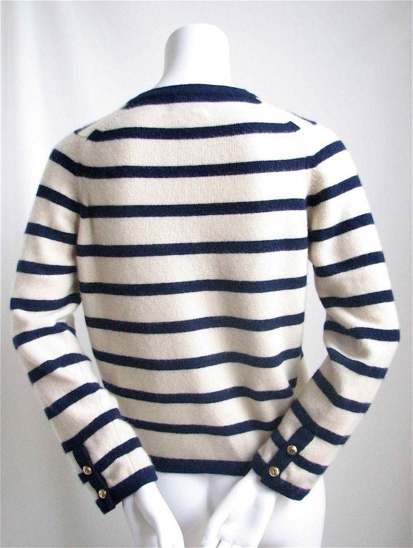 CHANEL nautical navy & cream striped cashmere cardigan 2