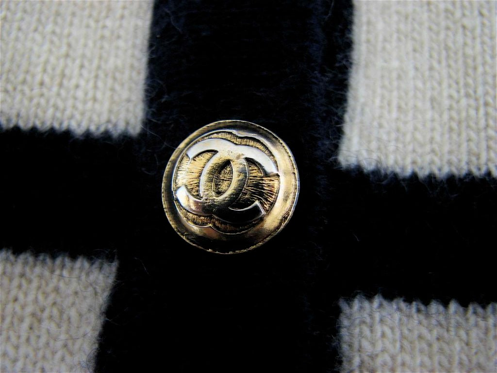 CHANEL nautical navy & cream striped cashmere cardigan 3