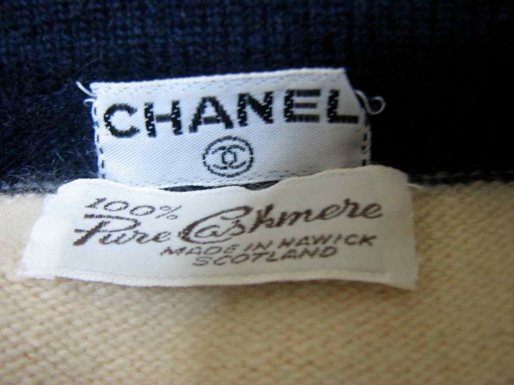 CHANEL nautical navy & cream striped cashmere cardigan 4