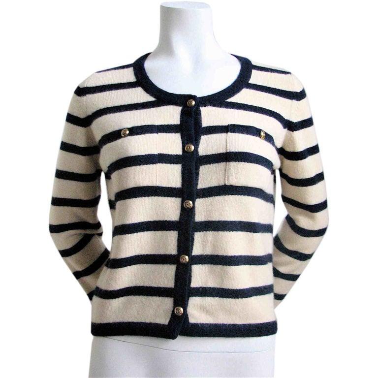 CHANEL nautical navy & cream striped cashmere cardigan 1