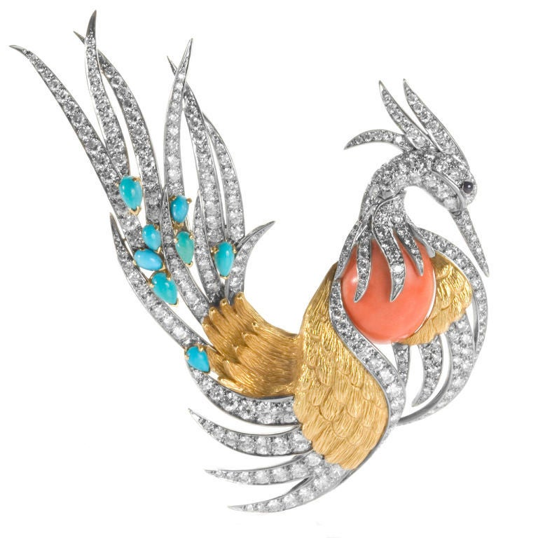 Pierre Sterlé Magnificent Phoenix Bird Pin, 1963c For Sale