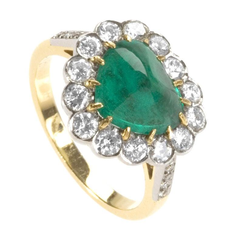 mid 20th century cabochon emerald gold