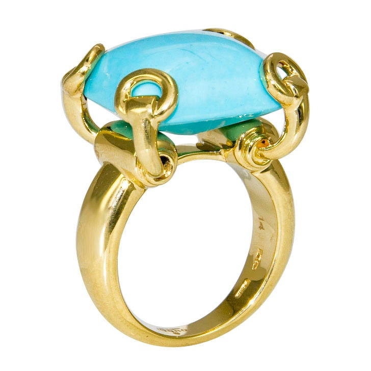 Modern 18k And Turquoise Ring By Gucci At 1stdibs