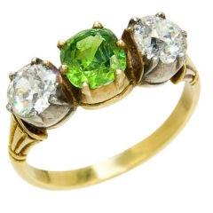 Antique Diamond and Demantoid Garnet Ring