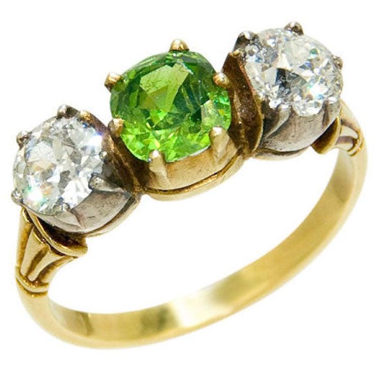 Demantoid Garnet Ring Sterling Silver