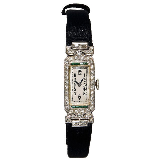 Ladies Art Deco Platinum Diamond & Emerald watch