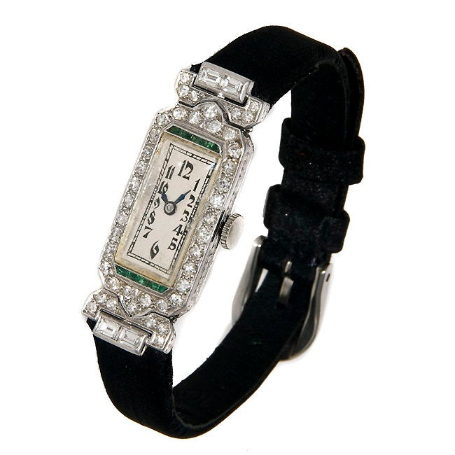 Ladies Art Deco Platinum Diamond & Emerald watch image 2