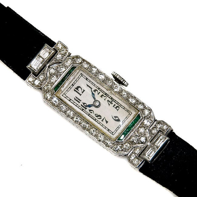Ladies Art Deco Platinum Diamond & Emerald watch image 6